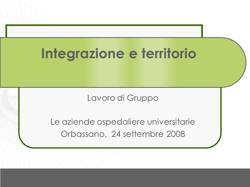 Integrazione e territorio Lavoro di Gruppo Le aziende ospedaliere universitarie Orbassano, 24 settembre 2008