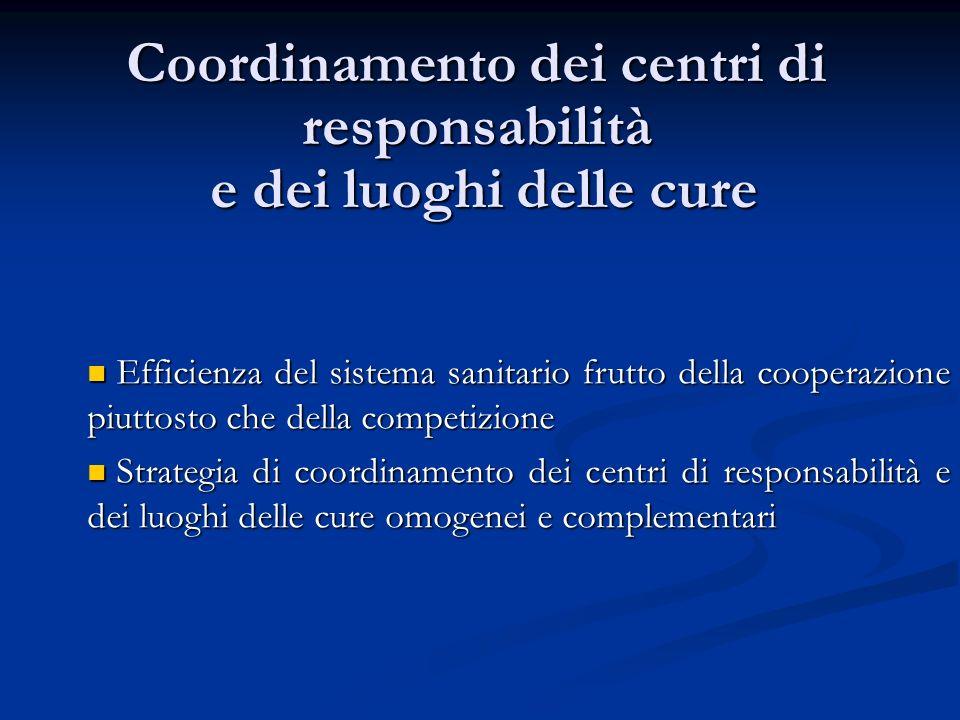 Coordinamento dei centri di responsabilità e dei luoghi delle cure Efficienza del sistema sanitario frutto della cooperazione piuttosto che della comp