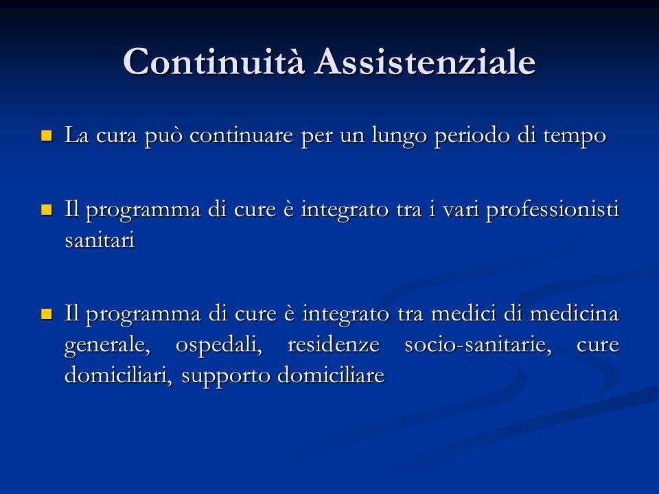 Continuità Assistenziale La cura può continuare per un lungo periodo di tempo La cura può continuare per un lungo periodo di tempo Il programma di cur