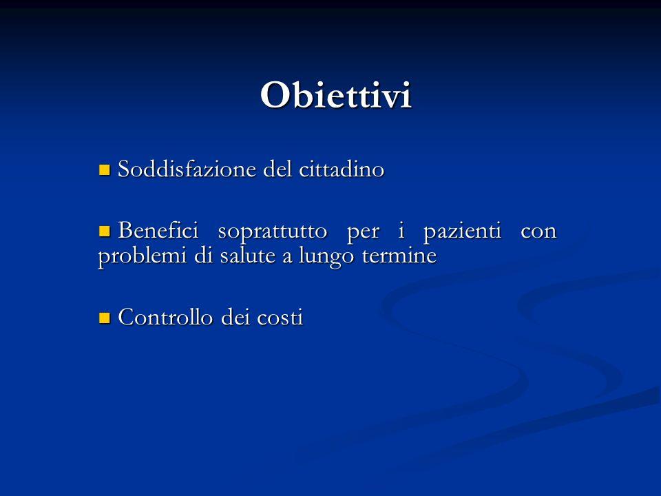 Obiettivi Soddisfazione del cittadino Soddisfazione del cittadino Benefici soprattutto per i pazienti con problemi di salute a lungo termine Benefici