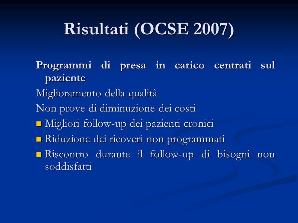 Risultati (OCSE 2007) Programmi di presa in carico centrati sul paziente Miglioramento della qualità Non prove di diminuzione dei costi Migliori follo