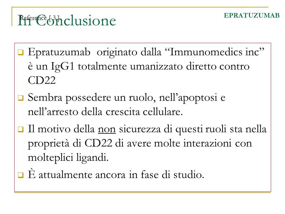In Conclusione Epratuzumab originato dalla Immunomedics inc è un IgG1 totalmente umanizzato diretto contro CD22 Sembra possedere un ruolo, nellapoptos