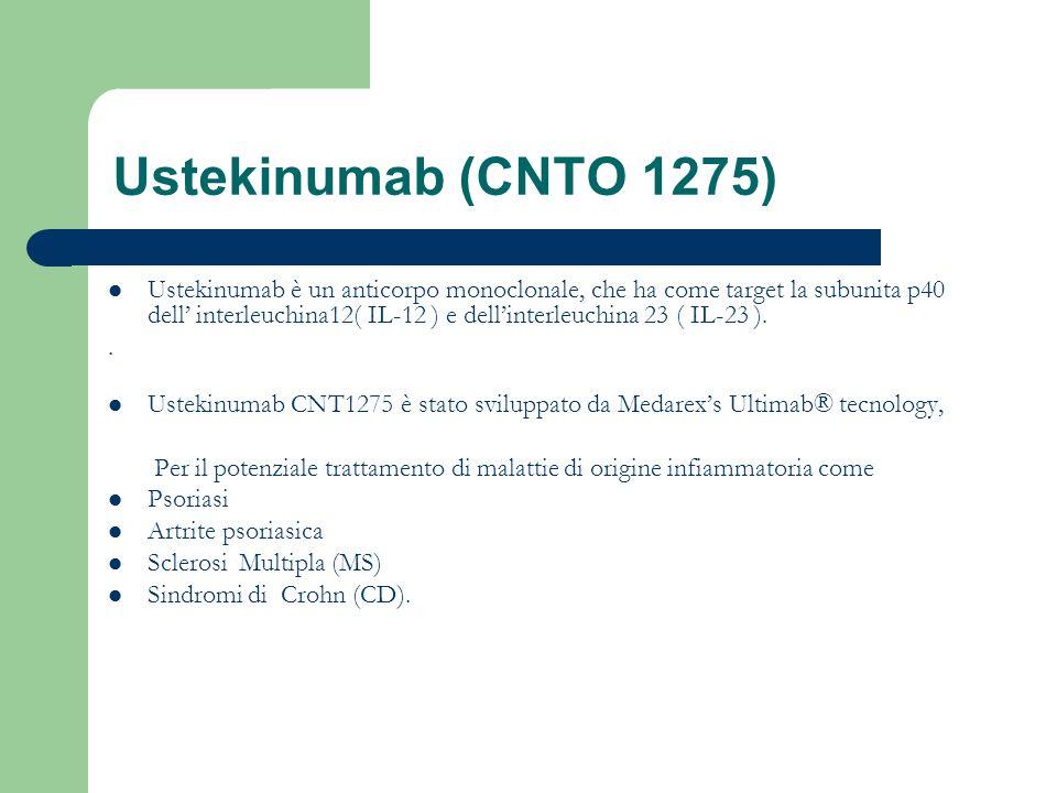Ustekinumab (CNTO 1275) Ustekinumab è un anticorpo monoclonale, che ha come target la subunita p40 dell interleuchina12( IL-12 ) e dellinterleuchina 2