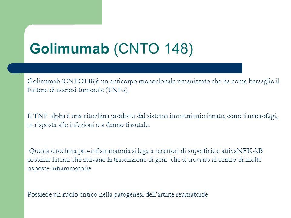 Golimumab (CNTO 148), Golinumab (CNTO148)è un anticorpo monoclonale umanizzato che ha come bersaglio il Fattore di necrosi tumorale (TNFα) Il TNF-alph