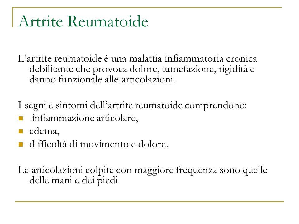 Artrite Reumatoide Lartrite reumatoide è una malattia infiammatoria cronica debilitante che provoca dolore, tumefazione, rigidità e danno funzionale a