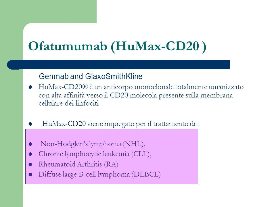Ofatumumab (HuMax-CD20 ) Genmab and GlaxoSmithKline HuMax-CD20® è un anticorpo monoclonale totalmente umanizzato con alta affinità verso il CD20 molec