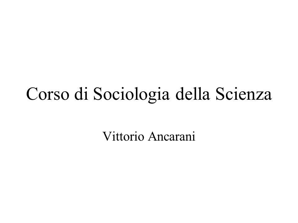 Corso di Sociologia della Scienza Vittorio Ancarani