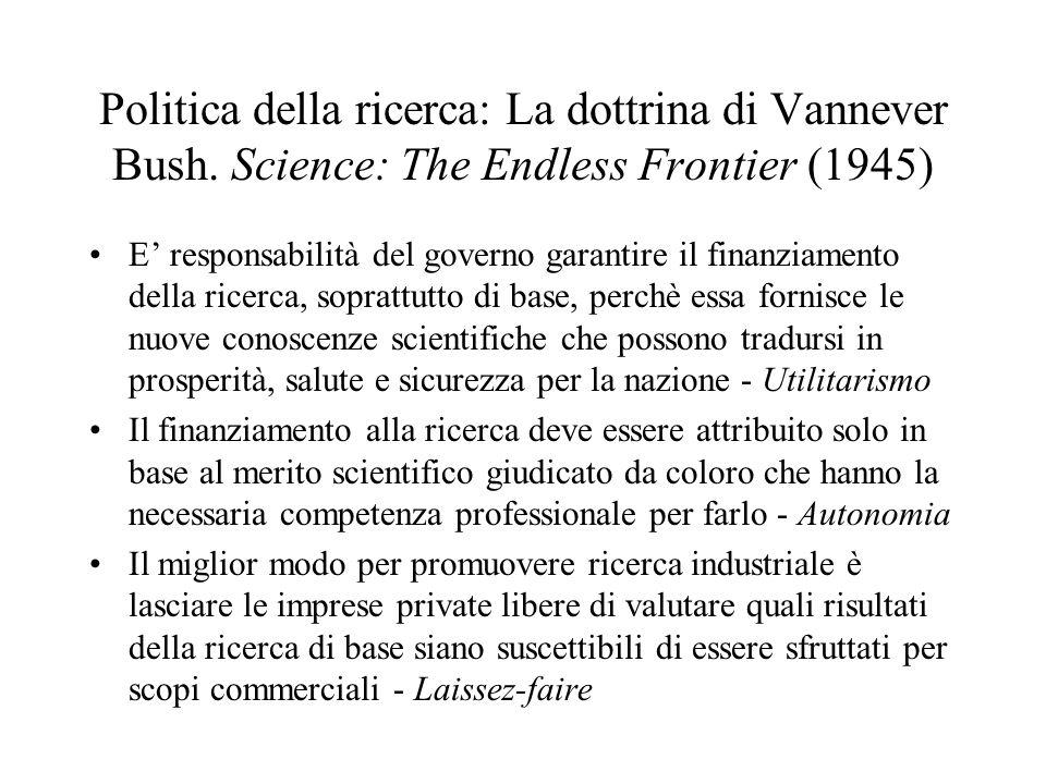 Politica della ricerca: La dottrina di Vannever Bush. Science: The Endless Frontier (1945) E responsabilità del governo garantire il finanziamento del