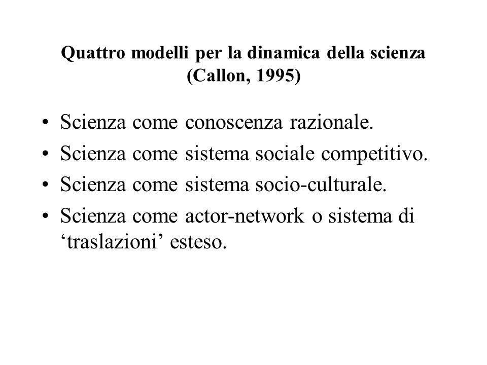 Quattro modelli per la dinamica della scienza (Callon, 1995) Scienza come conoscenza razionale. Scienza come sistema sociale competitivo. Scienza come