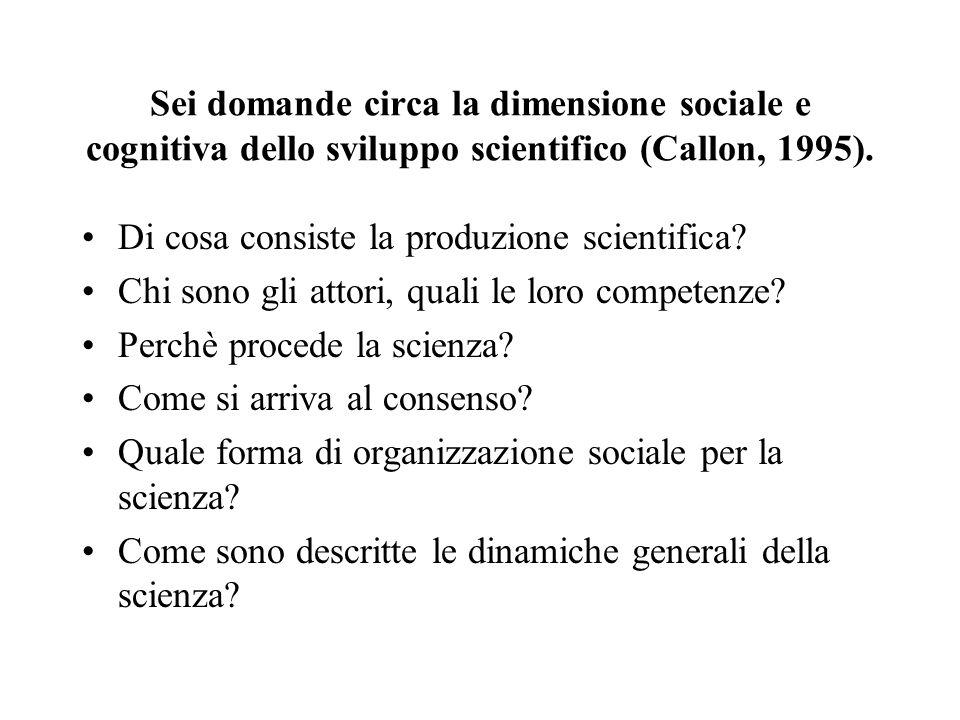Sei domande circa la dimensione sociale e cognitiva dello sviluppo scientifico (Callon, 1995). Di cosa consiste la produzione scientifica? Chi sono gl