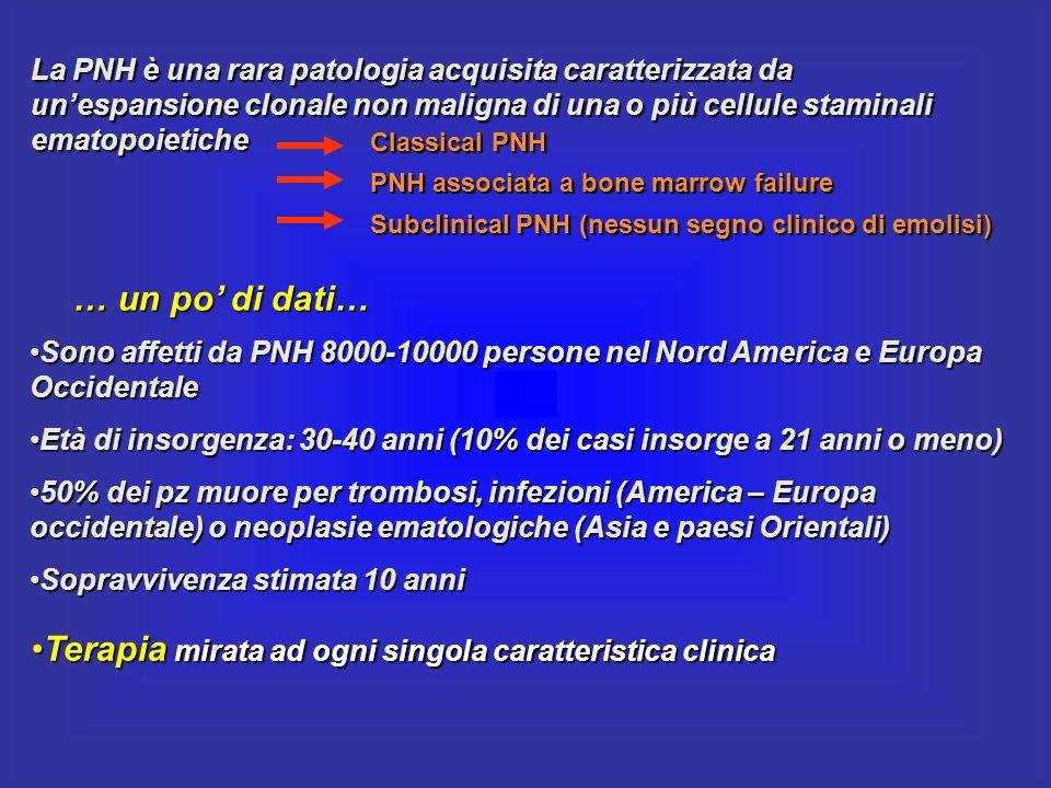 La PNH è una rara patologia acquisita caratterizzata da unespansione clonale non maligna di una o più cellule staminali ematopoietiche Sono affetti da