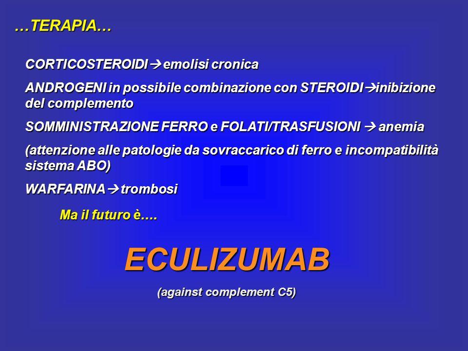 …TERAPIA… CORTICOSTEROIDI emolisi cronica ANDROGENI in possibile combinazione con STEROIDI inibizione del complemento SOMMINISTRAZIONE FERRO e FOLATI/