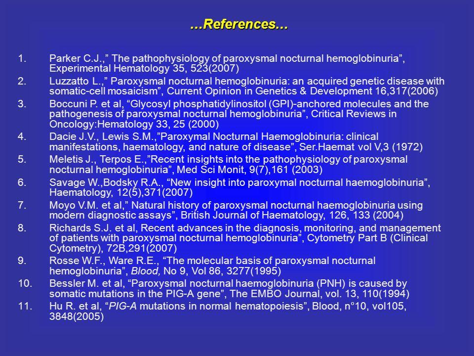1.Parker C.J., The pathophysiology of paroxysmal nocturnal hemoglobinuria, Experimental Hematology 35, 523(2007) 2.Luzzatto L., Paroxysmal nocturnal h