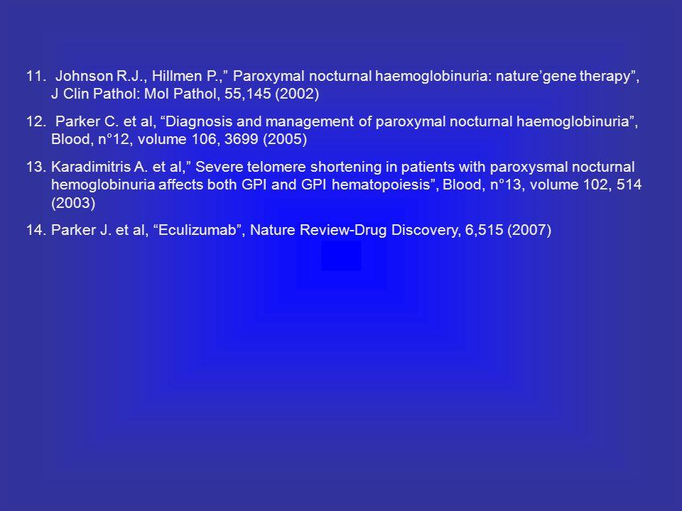 11. Johnson R.J., Hillmen P., Paroxymal nocturnal haemoglobinuria: naturegene therapy, J Clin Pathol: Mol Pathol, 55,145 (2002) 12. Parker C. et al, D