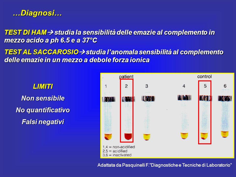 …Diagnosi… TEST DI HAM studia la sensibilità delle emazie al complemento in mezzo acido a ph 6.5 e a 37°C TEST AL SACCAROSIO studia lanomala sensibili