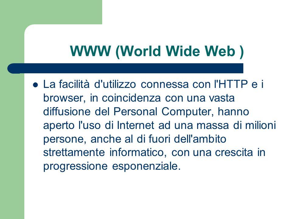 WWW (World Wide Web ) La facilità d utilizzo connessa con l HTTP e i browser, in coincidenza con una vasta diffusione del Personal Computer, hanno aperto l uso di Internet ad una massa di milioni persone, anche al di fuori dell ambito strettamente informatico, con una crescita in progressione esponenziale.