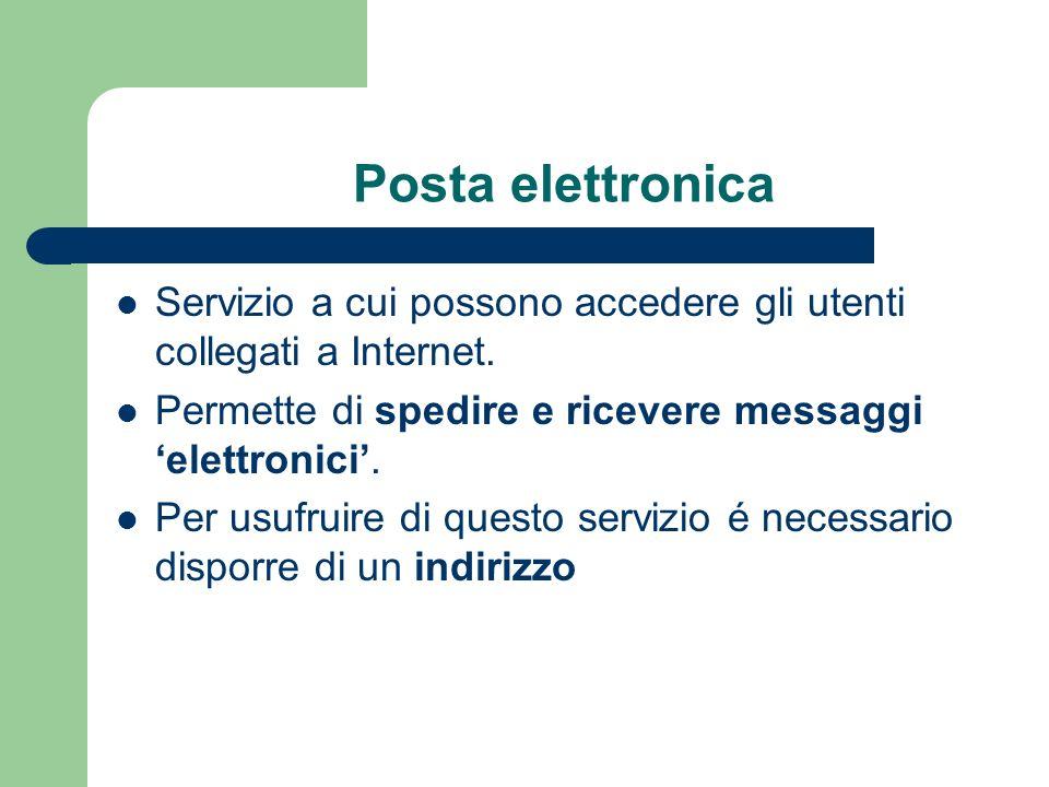 Posta elettronica Servizio a cui possono accedere gli utenti collegati a Internet.