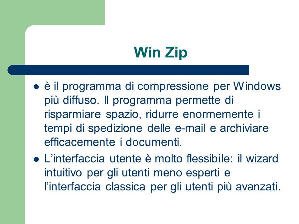 Win Zip è il programma di compressione per Windows più diffuso.