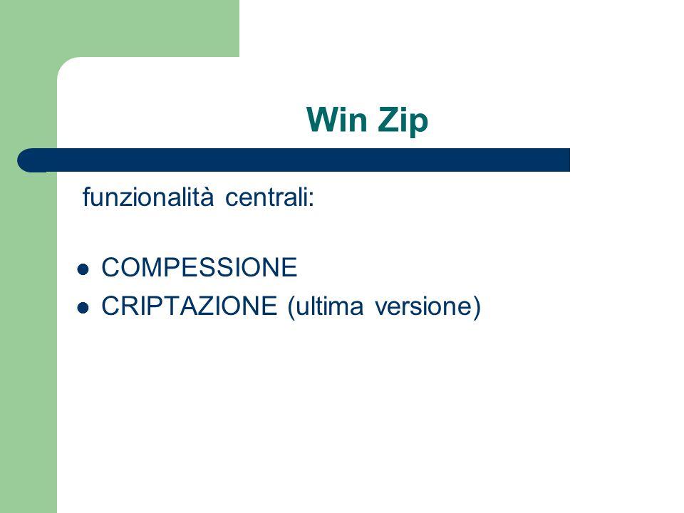 Win Zip funzionalità centrali: COMPESSIONE CRIPTAZIONE (ultima versione)