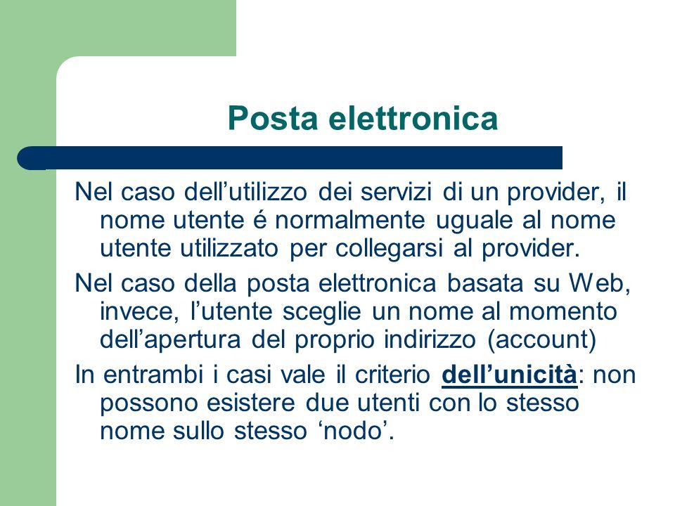 Posta elettronica Nel caso dellutilizzo dei servizi di un provider, il nome utente é normalmente uguale al nome utente utilizzato per collegarsi al provider.