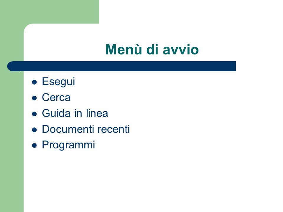 Menù di avvio Esegui Cerca Guida in linea Documenti recenti Programmi