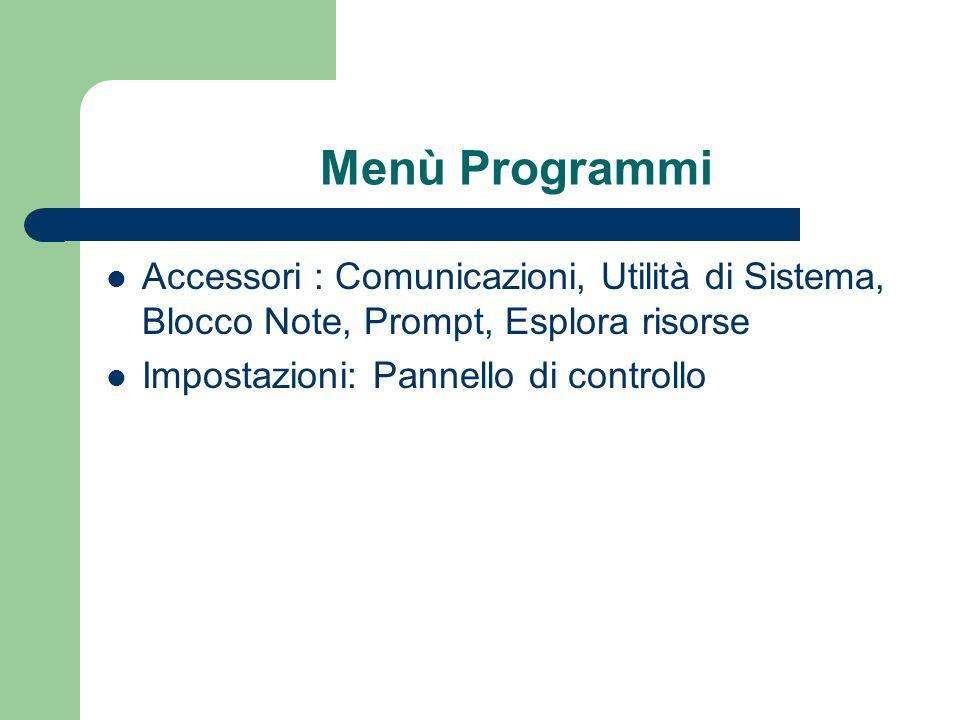 Menù Programmi Accessori : Comunicazioni, Utilità di Sistema, Blocco Note, Prompt, Esplora risorse Impostazioni: Pannello di controllo