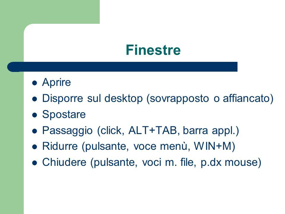 Finestre Aprire Disporre sul desktop (sovrapposto o affiancato) Spostare Passaggio (click, ALT+TAB, barra appl.) Ridurre (pulsante, voce menù, WIN+M)