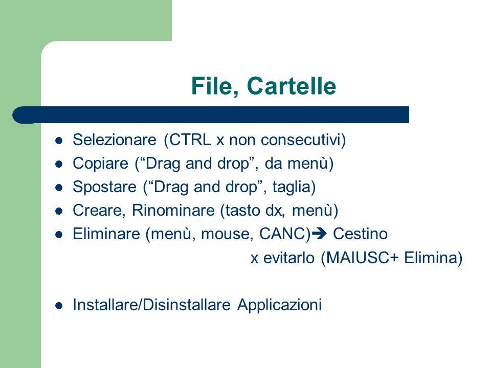 File, Cartelle Selezionare (CTRL x non consecutivi) Copiare (Drag and drop, da menù) Spostare (Drag and drop, taglia) Creare, Rinominare (tasto dx, me