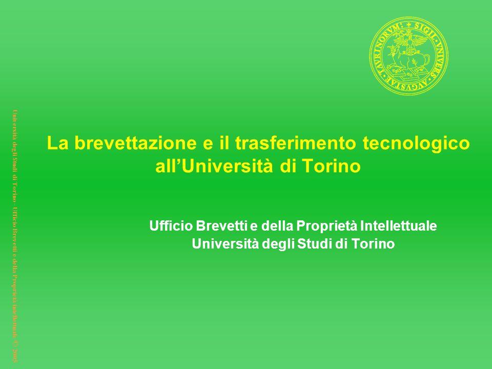 Università degli Studi di Torino– Ufficio Brevetti e della Proprietà intellettuale © 2005 La brevettazione e il trasferimento tecnologico allUniversit