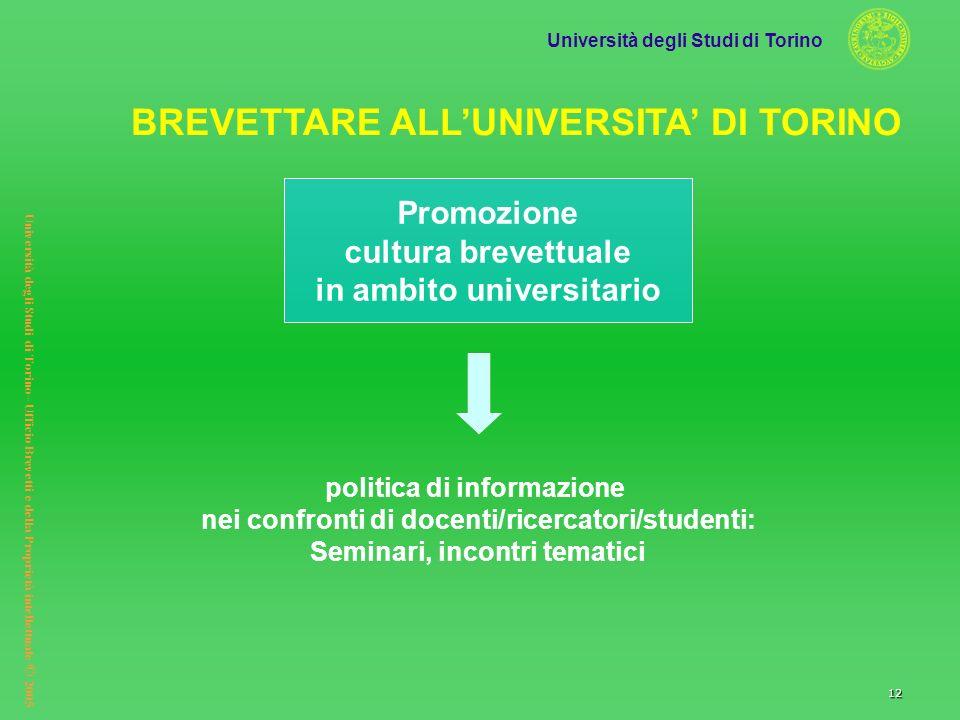 Università degli Studi di Torino Università degli Studi di Torino– Ufficio Brevetti e della Proprietà intellettuale © 2005 12 politica di informazione