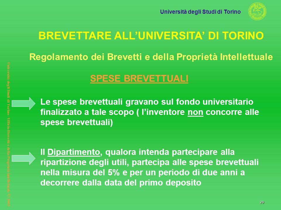Università degli Studi di Torino Università degli Studi di Torino– Ufficio Brevetti e della Proprietà intellettuale © 2005 20 Le spese brevettuali gra