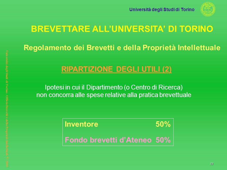 Università degli Studi di Torino Università degli Studi di Torino– Ufficio Brevetti e della Proprietà intellettuale © 2005 22 Ipotesi in cui il Dipart