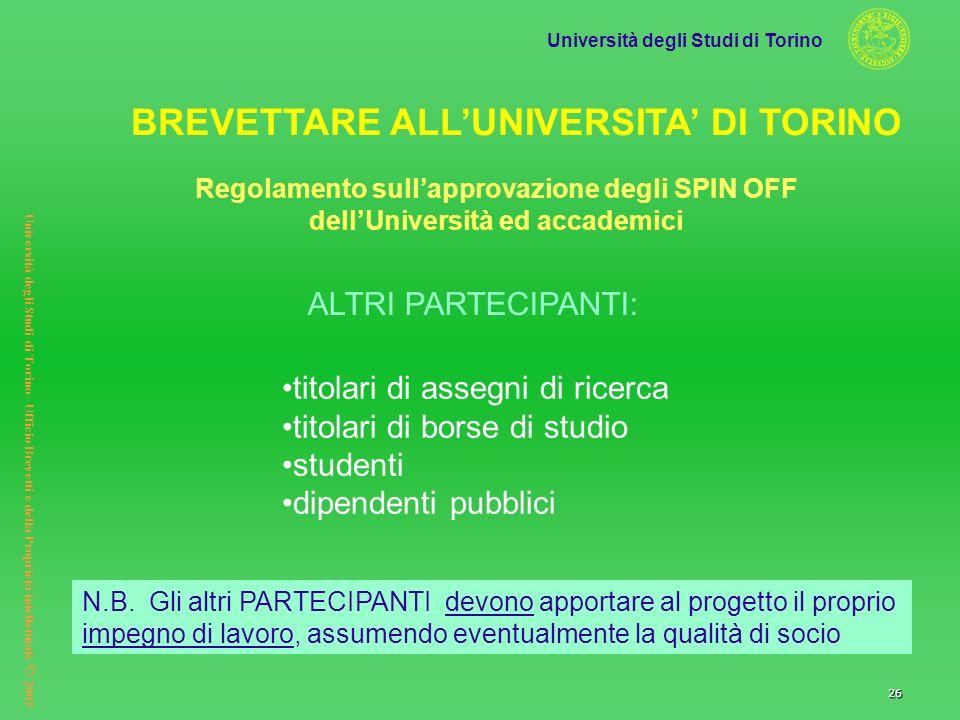 Università degli Studi di Torino Università degli Studi di Torino– Ufficio Brevetti e della Proprietà intellettuale © 2005 26 titolari di assegni di r