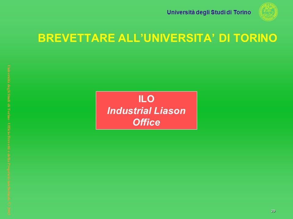 Università degli Studi di Torino Università degli Studi di Torino– Ufficio Brevetti e della Proprietà intellettuale © 2005 29 ILO Industrial Liason Of