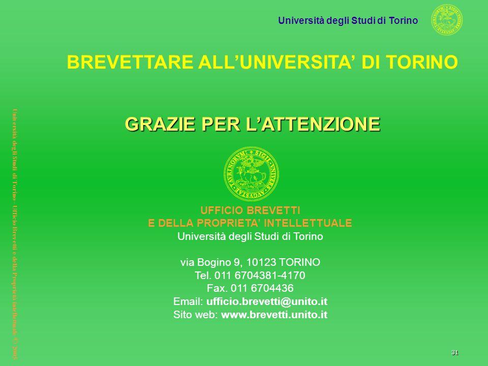 Università degli Studi di Torino Università degli Studi di Torino– Ufficio Brevetti e della Proprietà intellettuale © 2005 31 GRAZIE PER LATTENZIONE U