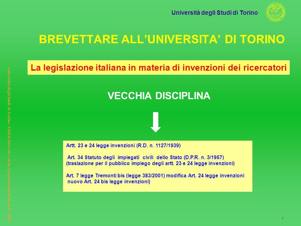 Università degli Studi di Torino Università degli Studi di Torino– Ufficio Brevetti e della Proprietà intellettuale © 2005 7 VECCHIA DISCIPLINA Artt.