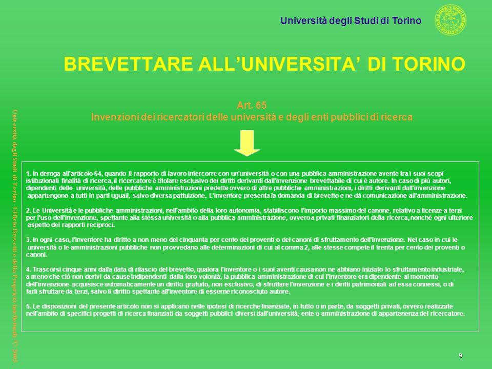 Università degli Studi di Torino Università degli Studi di Torino– Ufficio Brevetti e della Proprietà intellettuale © 2005 9 Art. 65 Invenzioni dei ri
