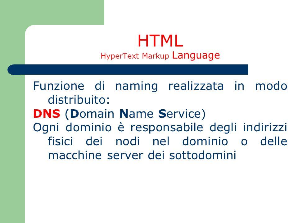 HTML HyperText Markup Language Funzione di naming realizzata in modo distribuito: DNS (Domain Name Service) Ogni dominio è responsabile degli indirizz