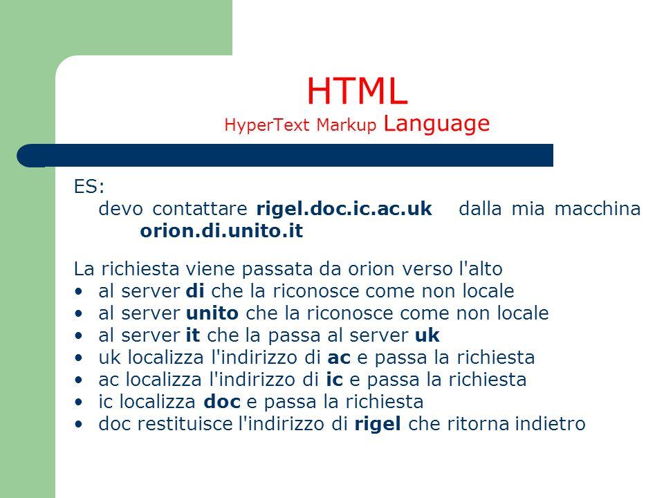 HTML HyperText Markup Language ES: devo contattare rigel.doc.ic.ac.uk dalla mia macchina orion.di.unito.it La richiesta viene passata da orion verso l