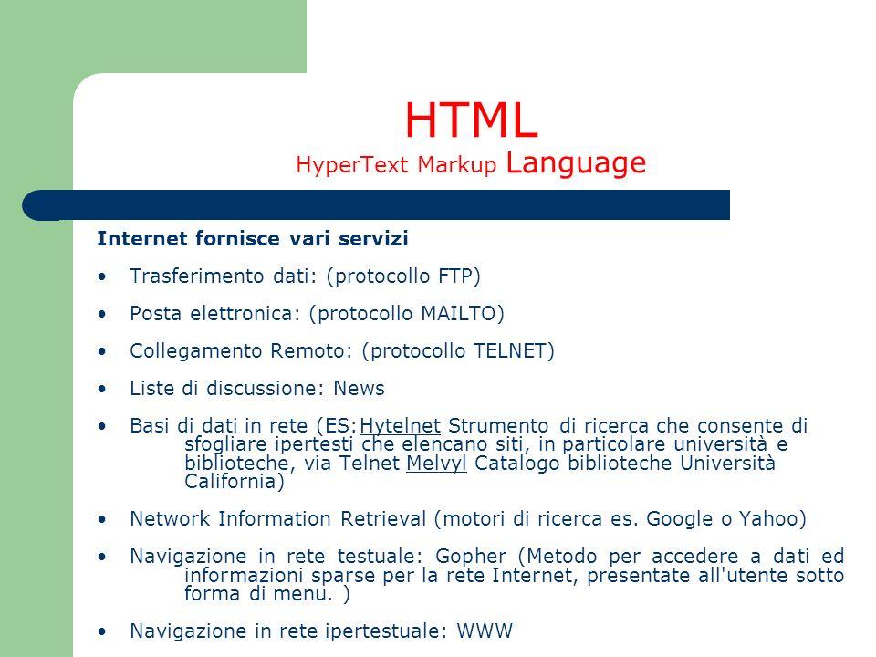 HTML HyperText Markup Language Internet fornisce vari servizi Trasferimento dati: (protocollo FTP) Posta elettronica: (protocollo MAILTO) Collegamento