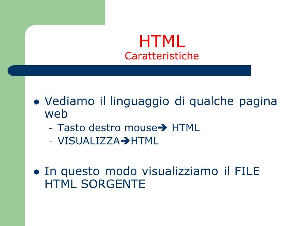 HTML Caratteristiche Vediamo il linguaggio di qualche pagina web – Tasto destro mouse HTML – VISUALIZZA HTML In questo modo visualizziamo il FILE HTML