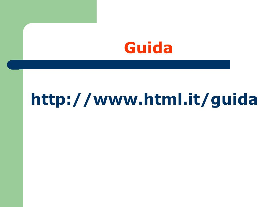 HTML Linguaggio COMANDI PER ANDARE A CAPO a capo a capo e inizio nuovo paragrafo (salta una linea) OSS: HTML non è sensibile ai caratteri maiuscoli e minuscoli nei comandi (non è Case Sensitive) HTML non è sensibile ai blank e alle linee vuote Alcuni comandi non vengono chiusi (empty tag) in quanto non si applicano a uno specifico contenuto: tra questi, ad esempio, il tag che corrisponde all a capo.