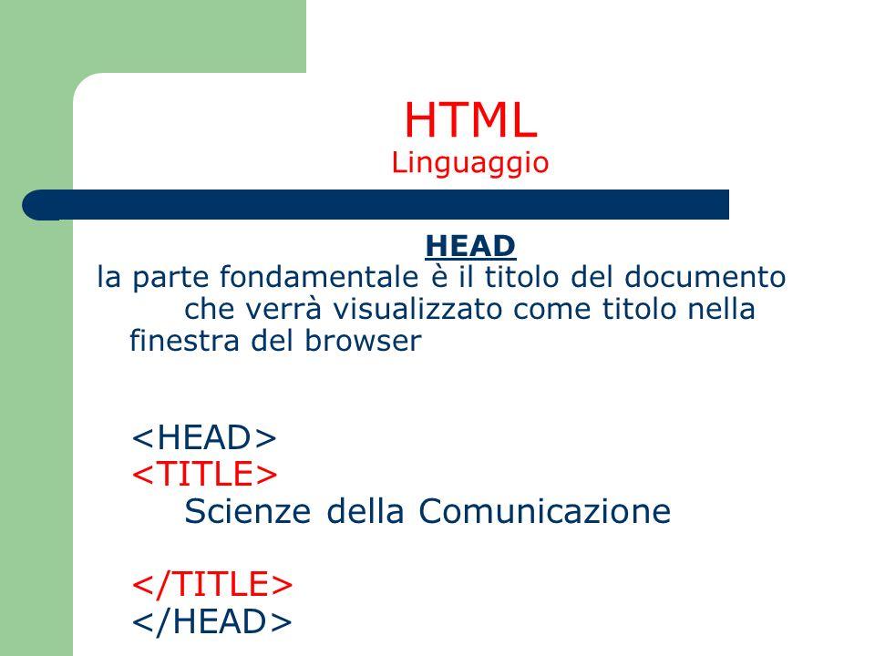 HTML Linguaggio HEAD la parte fondamentale è il titolo del documento che verrà visualizzato come titolo nella finestra del browser Scienze della Comun