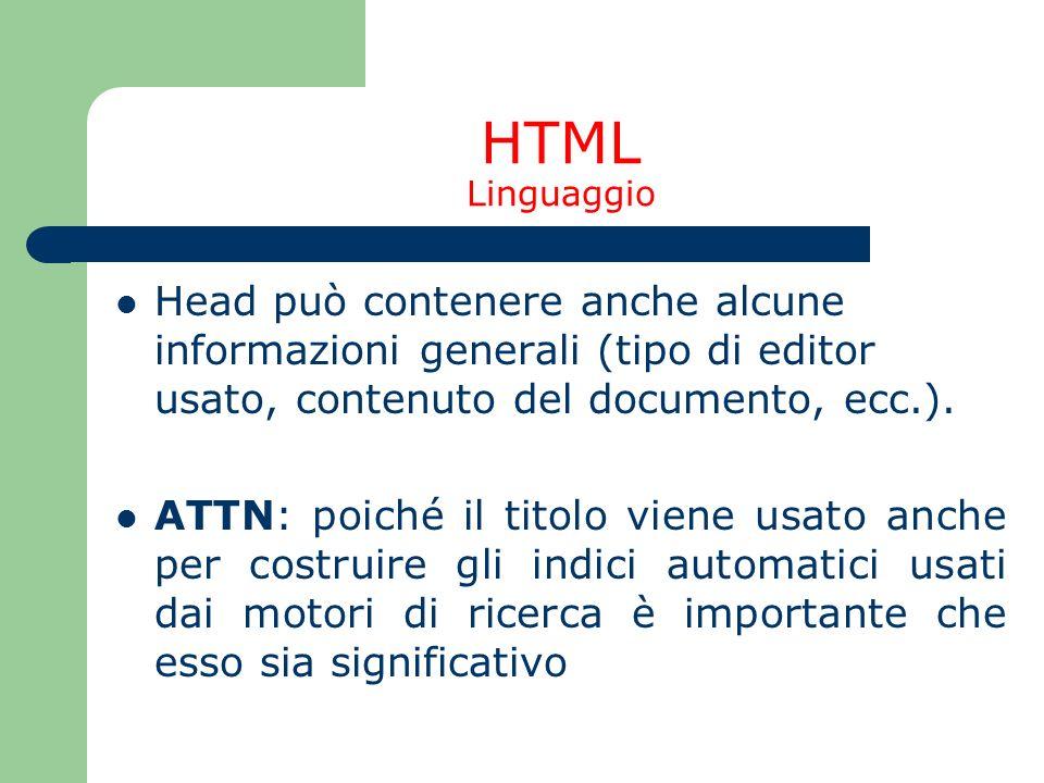 HTML Linguaggio Head può contenere anche alcune informazioni generali (tipo di editor usato, contenuto del documento, ecc.). ATTN: poiché il titolo vi