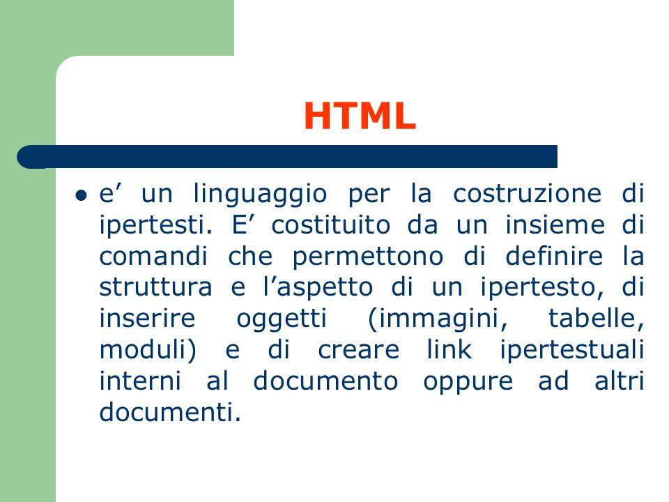 HTML Caratteristiche Non e permesso inserire alcun elemento di formattazione nel testo HTML (corsivo, grassetto, ecc.), se non tramite i comandi HTML appositi!.