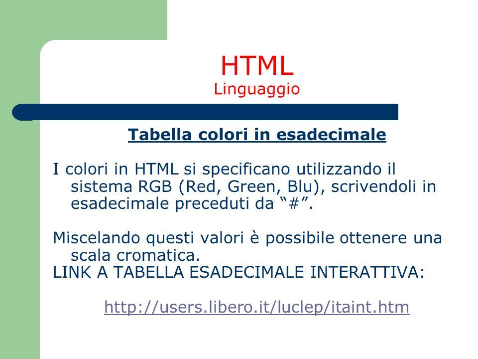 HTML Linguaggio Tabella colori in esadecimale I colori in HTML si specificano utilizzando il sistema RGB (Red, Green, Blu), scrivendoli in esadecimale