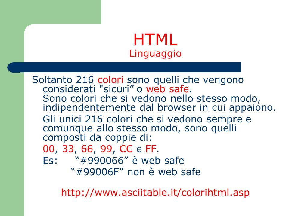 HTML Linguaggio Soltanto 216 colori sono quelli che vengono considerati