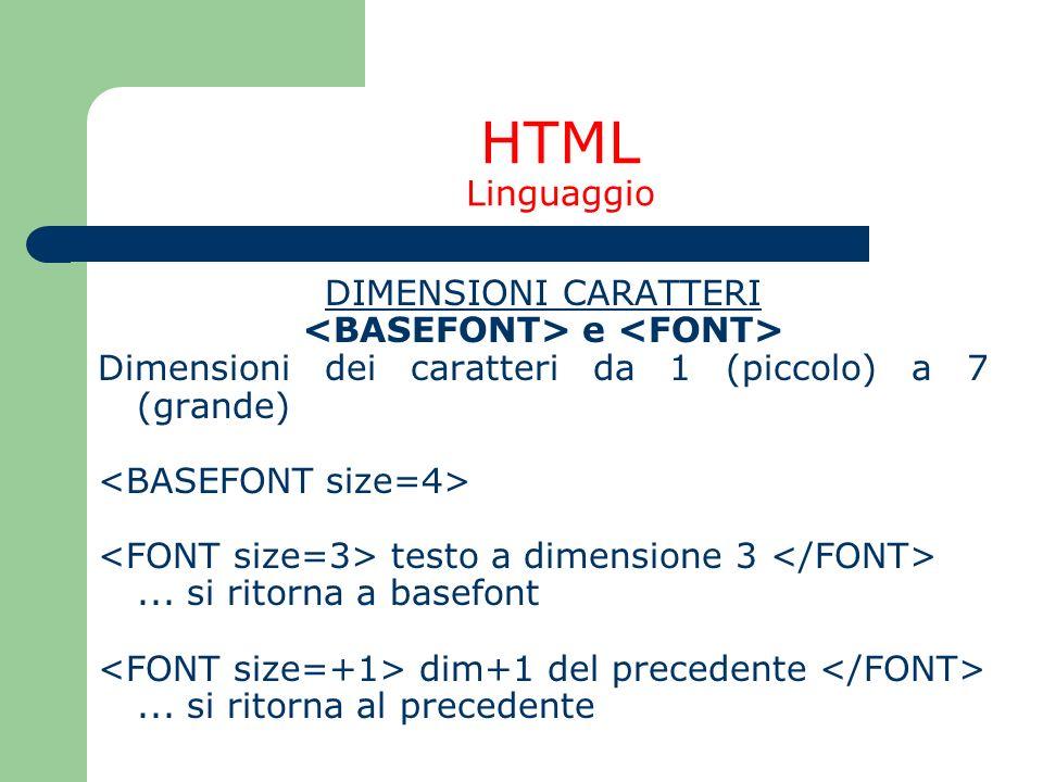 HTML Linguaggio DIMENSIONI CARATTERI e Dimensioni dei caratteri da 1 (piccolo) a 7 (grande) testo a dimensione 3... si ritorna a basefont dim+1 del pr