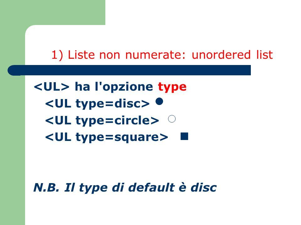 1) Liste non numerate: unordered list ha l opzione type N.B. Il type di default è disc