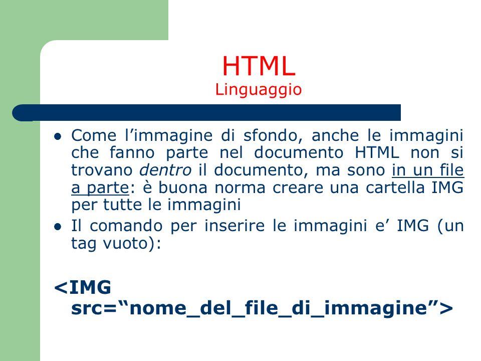 HTML Linguaggio Come limmagine di sfondo, anche le immagini che fanno parte nel documento HTML non si trovano dentro il documento, ma sono in un file